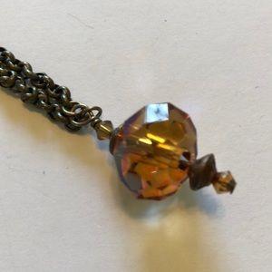 Amber crystal drop necklace